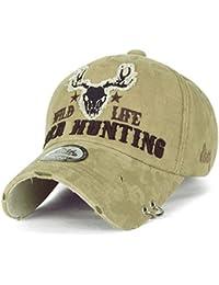 ililily WILD LIFE DEER HUNTING Stickerei Augenklappe Ring trimmen Baumwolle Baseball Cap Trucker Cap Hut