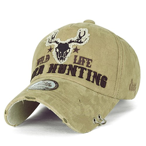 ililily WILD LIFE DEER HUNTING Stickerei Augenklappe Ring trimmen Baumwolle Baseball Cap Trucker Cap Hut , Khaki (Crown Vintage Design Ring Fashion)