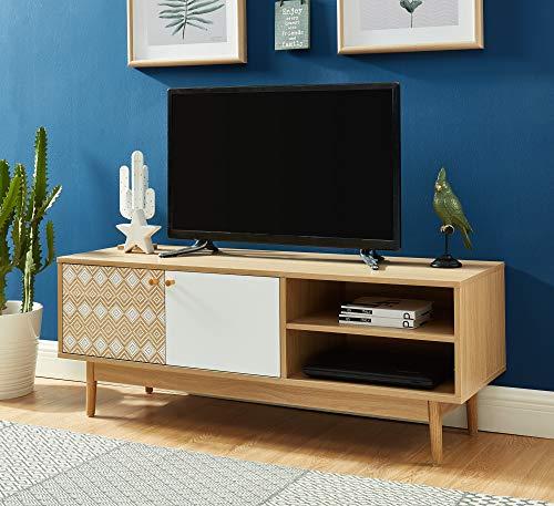 BAITA Leika Meuble TV, Chêne et Blanc, 120cm