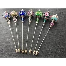 Unique Exquisite Glass Murano Bead Hat Pin