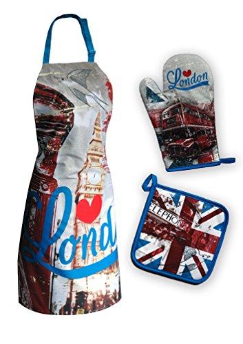 Maxi & Mini-SET GREMBIULE DA CUCINA GUANTO, PRESINA DA CUCINA, MOTIVO: LONDRA, LONDRA, IL BIG BEN
