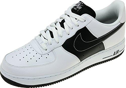 Nike Air force 1 - Zapatillas de Deporte de Piel Hombre, blanco (blanco y negro), 42