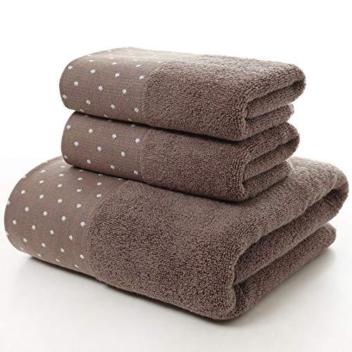 jhfasjdyf Juego de Toallas de algodón con Lunares: 1 Toalla de baño, 2 Toallas 100% algodón de Anillo: café Super Suave y Muy Absorbente (Gris) 70 * 140 cm, 35 * 75 cm