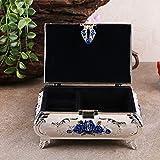 Q&M monili contenitore di metallo castello europeo creativo classico matrimonio femminile regalo di compleanno, blue flowers