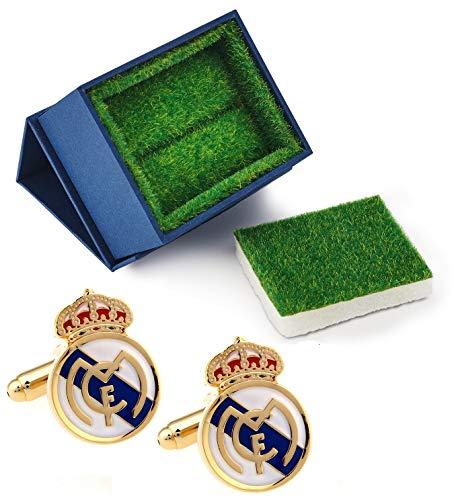 Unbekannt Manschettenknöpfe, Motiv: UEFA Real Madrid FC Logo Fußball mit Grasähnlicher Geschenkbox