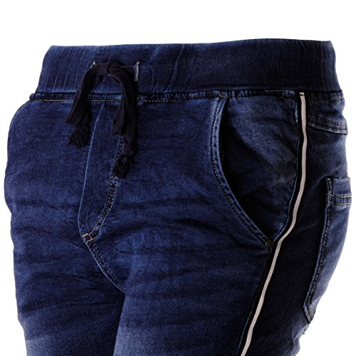 ooibo.de Damen-Jeans im Jogging-Hose Style mit seitlichem Kontraststreifen Jeans mit seitlichem Kontraststreifen