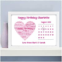 1st 10th 13th 16th 18th 21st 30th Personalised Birthday Gifts for Girls Her Daughter Mum Nanny Nan Auntie Niece Best Friends Love Heart ANY Birthday Date Gifts - A5, A4, A3 Prints