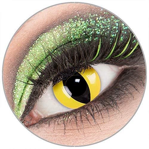 Farbige weiße 'CatEye' Kontaktlinsen mit Stärke -1,00 1 Paar Crazy Fun Kontaktlinsen mit Behälter zu Fasching Karneval Halloween - Topqualität von - Gelb Darth Maul Kostüm