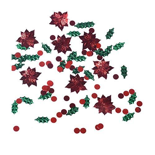 Grüne Blätter und Holly Berry Form Weihnachten Konfetti Bunte Tabelle Konfetti kreatives Design Weihnachtsdekoration Set -1Bag Holly Berry Designs
