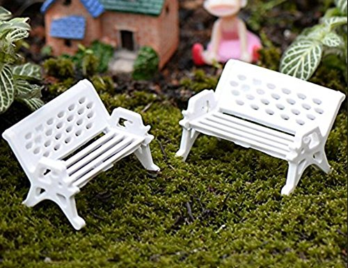 ningteng Mini weiß Mini Park Sitz Gartenbank Garten Verzierungen (groß)