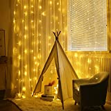 AGM 6pcs 2M 20 LED Cortina de Luces, LED Luces Cortina Blanco Cálido Luz de Hadas con Pilas para Decoración Navidad,Boda,Fiesta,Casa,Jardín etc.