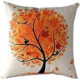 Fundas De Cojines,Xinantime Funda de almohada árbol de la flor de la historieta (Naranja)