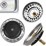 Safekom Premium Abfluss-Stöpsel für Küchenspüle, Abtropfsieb, Edelstahl, für Badezimmer, Dusche, 1 Jahr Garantie