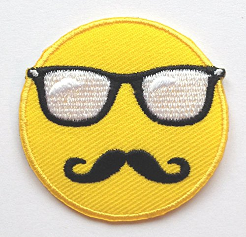 Emoji-Patch Embroidered Iron on Badge Aufnäher Patch Embroidered Iron on Badge Aufnäher Motiv DIY anpassen Tasche hat T-Shirt Collectible Hipster mit Brille Schnurrbart Cool -