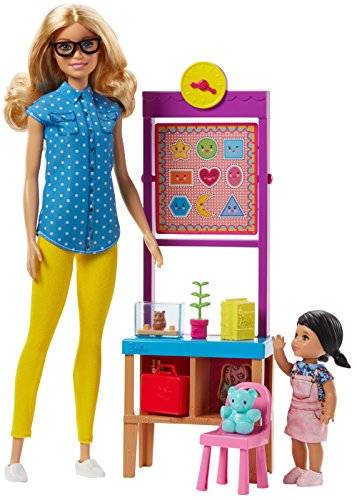 Barbie FJB29 Lehrerin Puppe (blond) und Spielset (Barbie-puppe Brille)