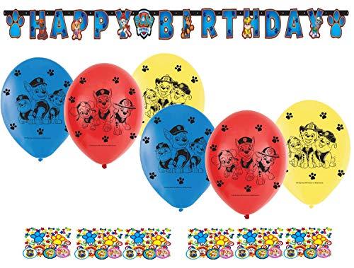 Geburtstag Dekoration Set Kompakt Happy Birthday Deko Luftballon Konfetti Paw Patrol für Kinder ()