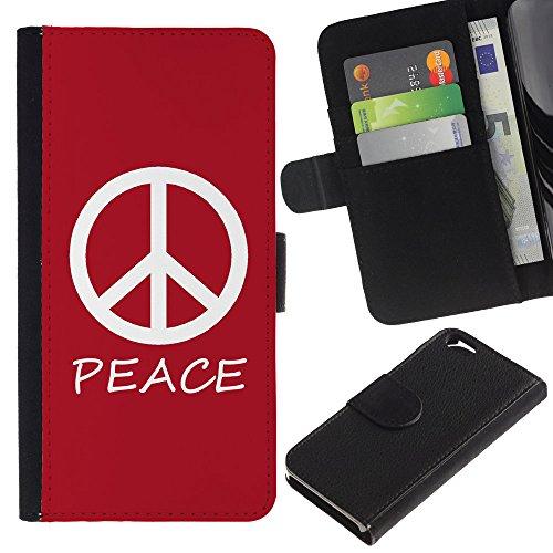 Graphic4You Peace Sign Friedenszeichen Design Brieftasche Leder Hülle Case Schutzhülle für Apple iPhone 6 / 6S (Neon Rosa) Rot