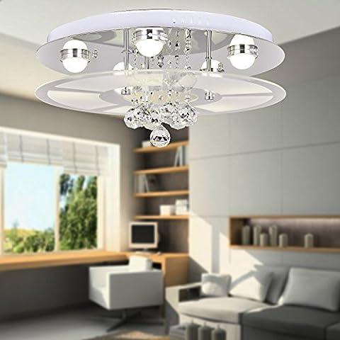 Lámpara cristal simple y elegante, Lámpara de techo cristal de moda de 5 piezas para sala de estar, Lámpara de techo cristal moderna para