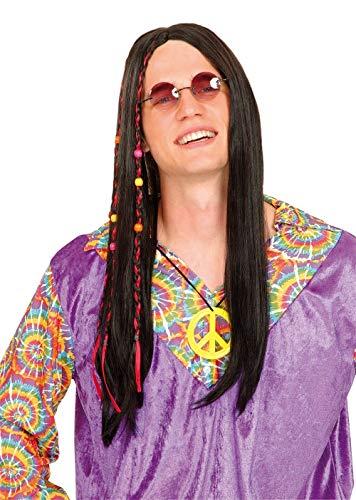 Nerd Clear Perücke Hippie Dunkelbraun 70er Jahre Mottoparty Kostüm Zubehör (Frisuren Nerd Kostüm)