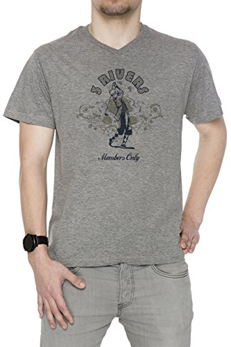 3 Rivers Members Only Uomo V-Collo T-shirt Grigio Cotone Maniche Corte Grey Men's V-neck T-shirt