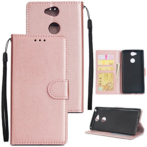 Zantec for Sony XA2 Flip-Type PU Leather Protective Phone Case with Buckle & 3 Card Position Rose Gold