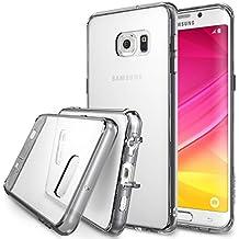 Galaxy S6 Edge Plus Funda , Ringke FUSION [Smoke Black] *** Todos Nuevo Gratis de Tapa Contra el Polvo y Tecnología Activo Tocar *** Cristal Claro Choque Absorción TPU Parachoques Protección Gota prima Claro Trasera Dura [Antiestático ] [Resistente a Arañazos] para Samsung Galaxy S6 Edge+/Plus - Eco/DIY Paquete