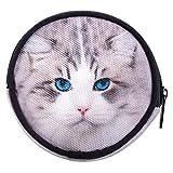 Porte-Monnaie Rond Multicolore Garçons Filles Petit Porte-Monnaie Emoji Femme Homme Unisex Sachet Clés Chat Gris Grey Cat [041]