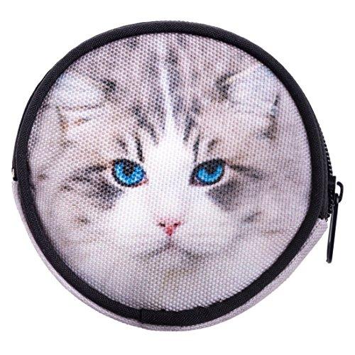 dbörse mit Reißverschluss Taschenorganizer Münzbörse Grey Cat [041] ()