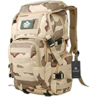 YAAGLE Mens Womens Military Combat Tactical 35L Waterproof 900D Oxford Outdoor Backpack Sports Biking Hiking Cycling Climbing Camping Rucksack Travel Bag Laptop Pack Black Army Yellow Camouflage