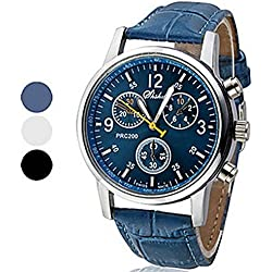 Ouku@Bocideal Valentine Birthday Gift, Luxury Faux Leather Mens Men's Analog Dress Elegant Style Watch Watch Blue Color Hot