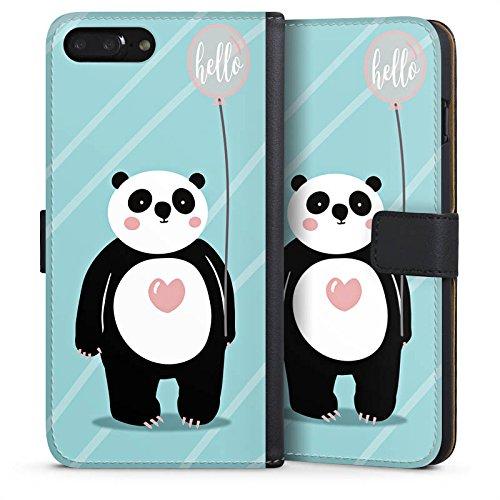 Apple iPhone X Silikon Hülle Case Schutzhülle Panda Comic Zeichentrick Sideflip Tasche schwarz