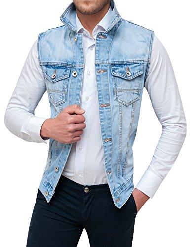 Evoga smanicato di jeans uomo denim chiaro gilet giubbotto giacca casual (l)