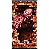 Unbekannt Halloween Folien Türposter Zombie Steinwand 1,68 x 0,85m