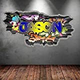 volle Farbe Personalisiert 3D Straßen Graffiti Name ausgebrochenes Wandkunst Sticker Aufkleber Wandsticker Grafik Druck