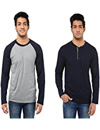 Five Stone Combo Pack Of 2 Solid Round Neck Navy Blue & Hayder Grey Coloured With Full Sleeve T-Shirt For Men...