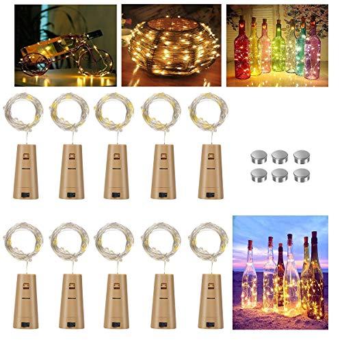 Vicloon Luces de botellas, Lámparas de Botellas con Pilas de Alambre de Cobre 2m 20 LEDs, luz de bricolaje, Botella de luz, las pilas incluidas, Decoración de Boda Luces de Botella de Vino,10PCS