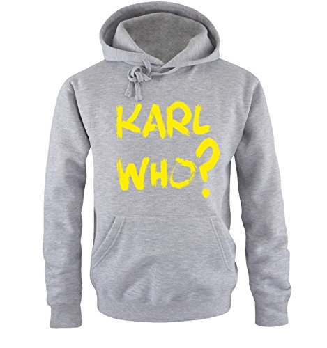 Comedy Shirts - KARL WHO? - Uomo Hoodie cappuccio sweater - taglia S-XXL different colors grigio / neon giallo