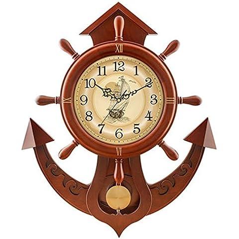 Silencio de arce de la sala del reloj del reloj de pared de madera sólida del timón reloj creativo reloj de cuarzo ( Color : Marrón
