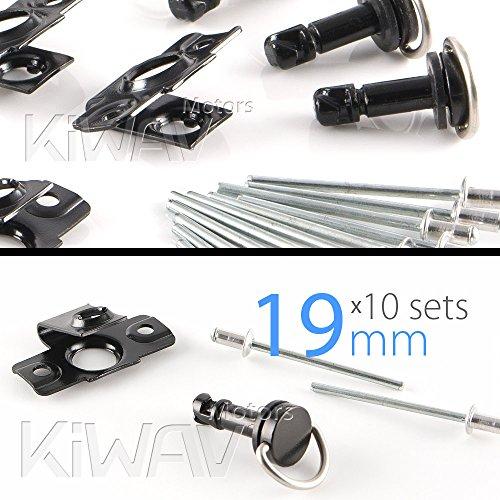 KIT 10-tlg 19 mm Schnelle Freigabe Verkleidungsschrauben Verschluss schwarz