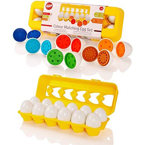 Tippi Color Matching Egg Set - Toddler Toys - Colore didattico e riconoscimento del Numero