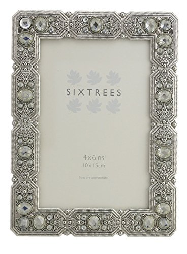 Antique Vintage y Shabby Chic estilo plata Metal marcos de fotos con cuentas y cristales en 23estilos para 4
