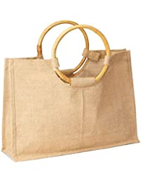"""Pack Of 6- Eco-friendly Women Shopping Tote With Round Cane Handles All Natural In Color Size 17.5""""W X 12.5""""H..."""