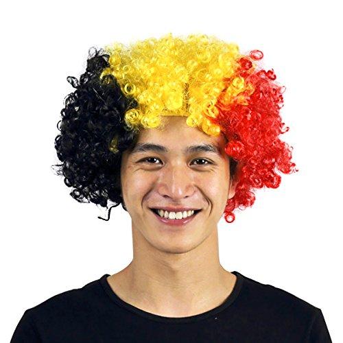 �cke, Bunte Lockenperücke für Fußball Fans bei der WM Kostüm Cosplay Halloween Karneval Fasching Afroprücke (Deutschland) (Star Perücken)