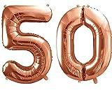 XXL Folien-Ballon/Zahl 50 in Rosé-Gold/Geburtstags-Ballon zum 50. Geburtstag/Goldene Hochzeit/Alter / Deko Dekoration