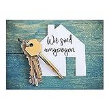 16 x Postkarten für Umzug - Motiv Neue Schlüssel - Wohnungswechsel, Einzug, Auszug, neue Adresse, Karte