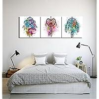 LB Atrapasueños Plumas_Cuadro de Pintura al Óleo Moderna Impresión de la Imagen en la Lona Arte de la Pared para la Sala de Estar,Dormitorio,Decoración del hogar,3 Piezas 40x40,con Marco