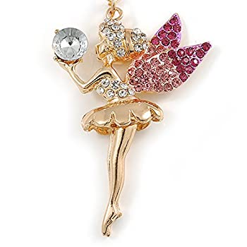 Avalaya Clearpink Crystal Fairy With Glass Ball Keyringbag Charm In Gold Tone Metal - 11cm L 3