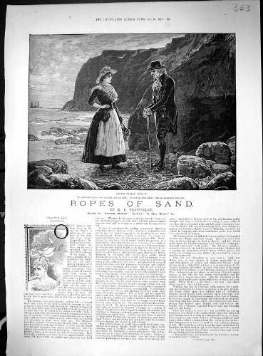 antique-print-of-1884-ropes-sand-man-lady-beach-scene-silber-fleming-warehouse-london-glass-china