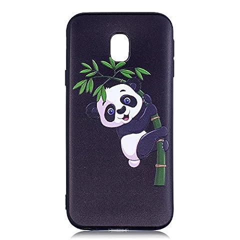 Coque Samsung Galaxy J3 2017 [EU Version], Chreey [Motif en relief] Estampé Housse Etui TPU Souple Silicone Coque de Protection Ultra Mince Fond Noir Anti-rayures Bumper Case [panda & bambou]