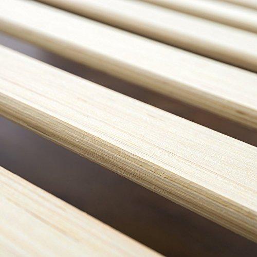Bed Frame Modern Design Platform with Wooden Slats & Headboard Included (Material: Steel, Color Black/Beige) (Single (3'))
